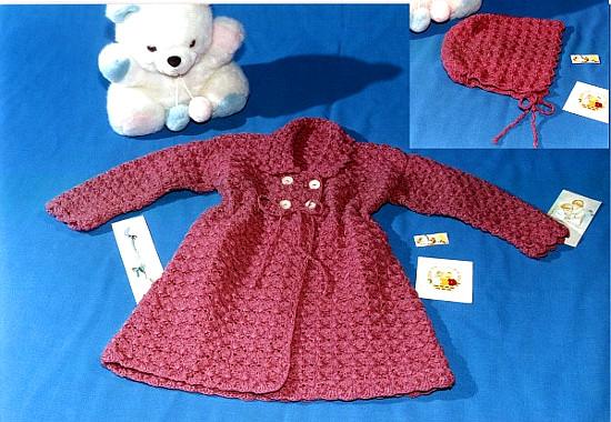 Tapado con gorro en tejido crochet